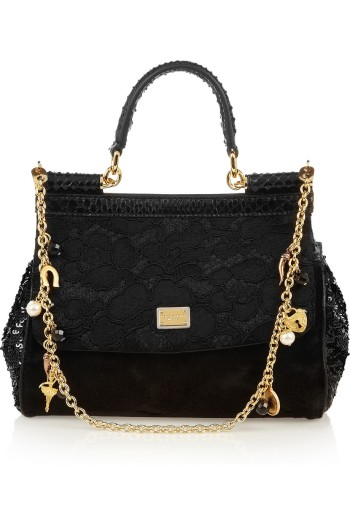 Dolce and Gabbana Mini Miss Sicily Python Trimmed Brocade Tote picture from net-a-porter.com