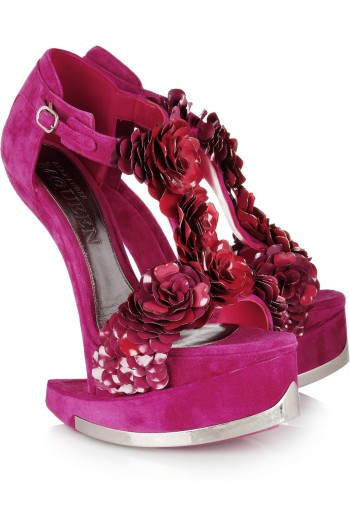 Alexander McQueen Enameled Flower Suede Sandals picture from saksfifthavenue.com