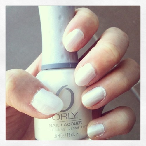 White satin on nails- Orly Au Champange