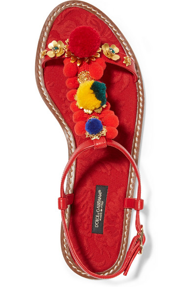 Dolce and Gabbana Pompom Sandals