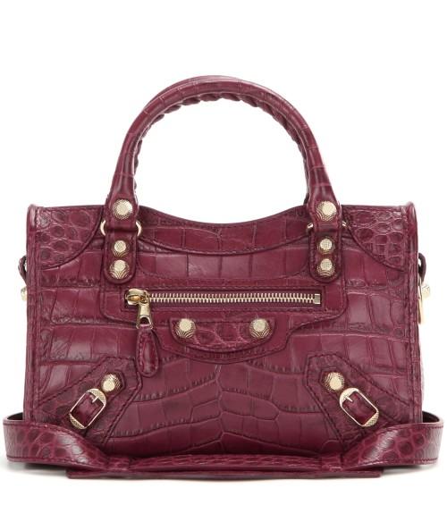 Balenciaga Embossed Leather Mini City Bag